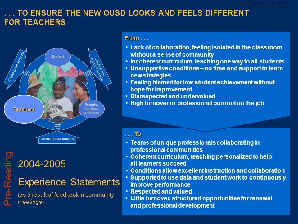 . . . TO ENSURE THE NEW OUSD LOOKS AND FEELS DIFFERENT FOR TEACHERS