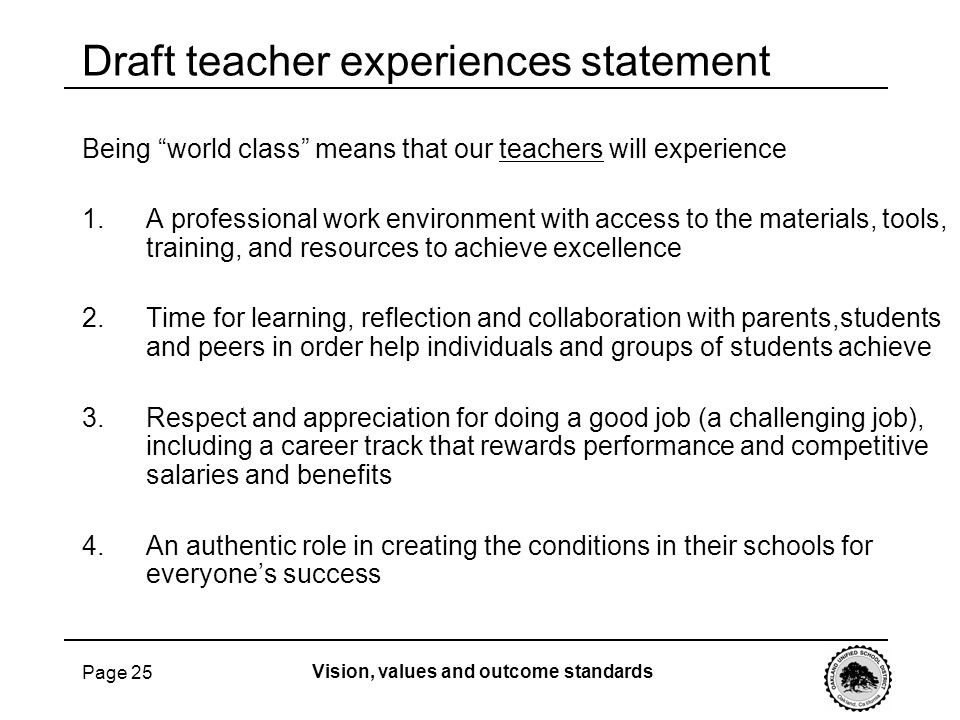 Draft teacher experiences statement