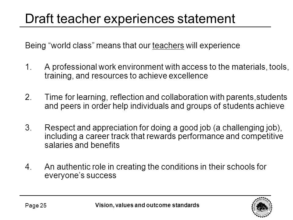Draft teacher experiences statement