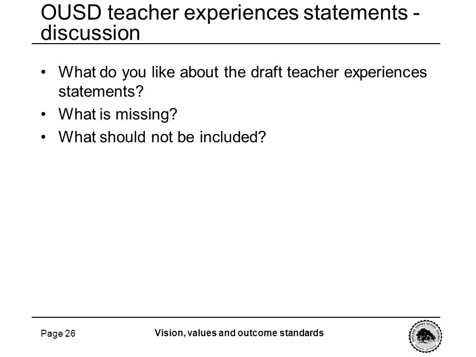 OUSD teacher experiences statements - discussion