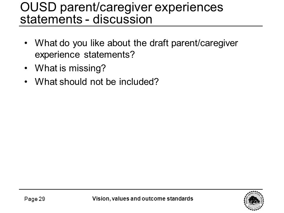 OUSD parent/caregiver experiences statements - discussion