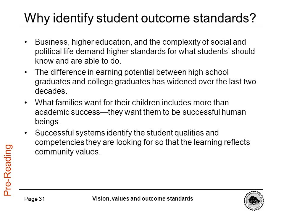 Why identify student outcome standards