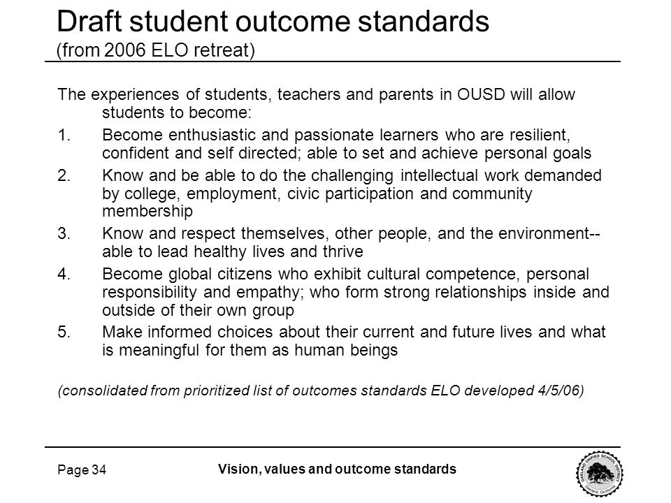 Draft student outcome standards (from 2006 ELO retreat)