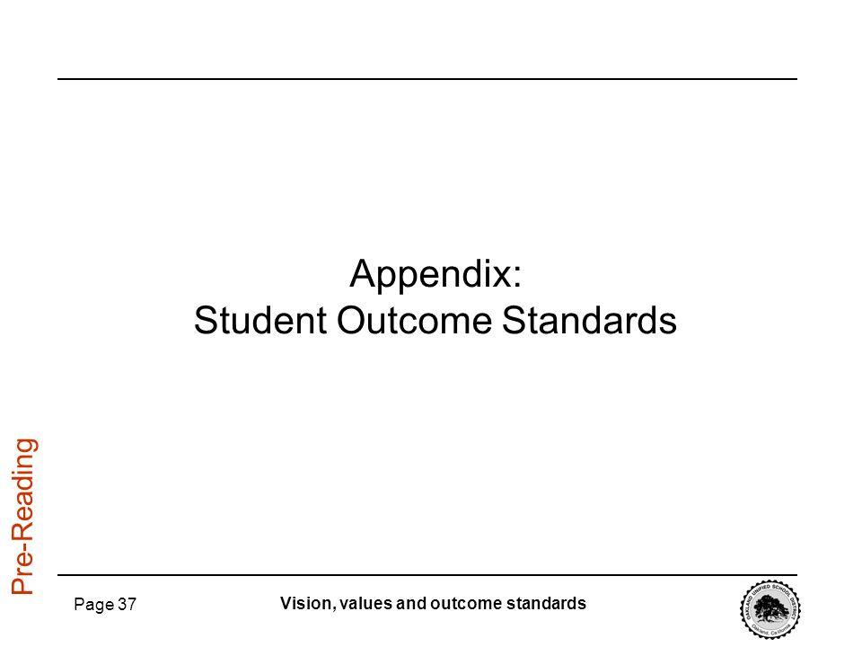 Appendix: Student Outcome Standards