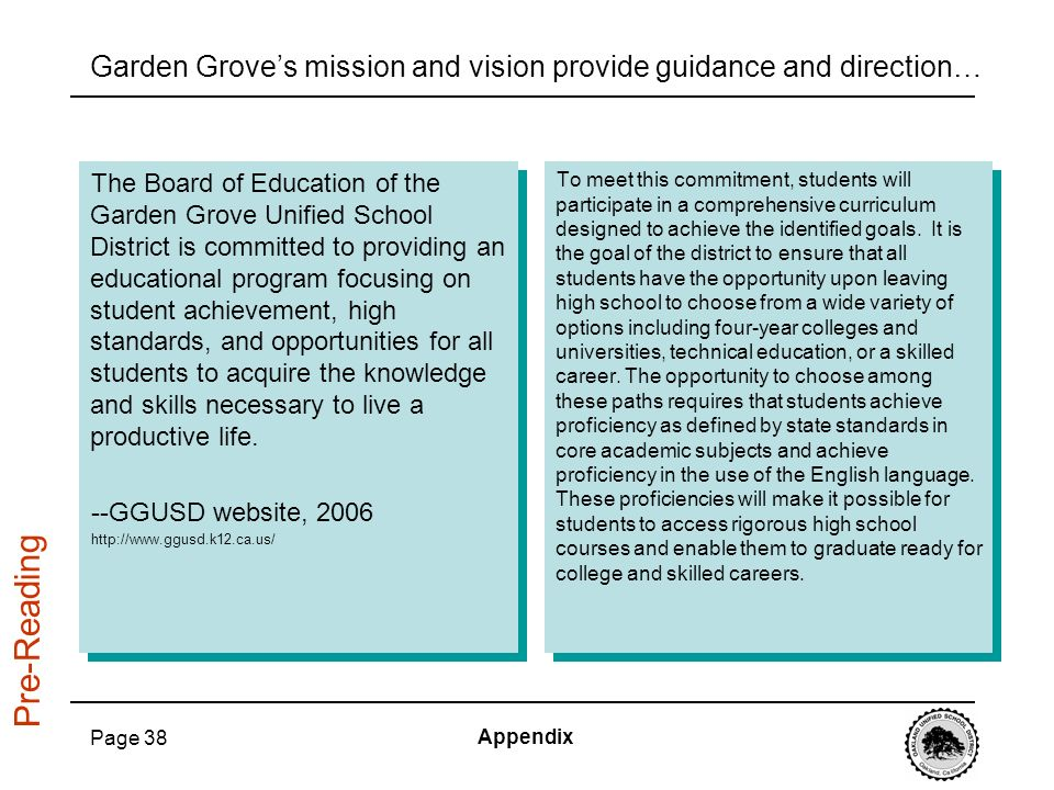 Garden Grove's mission and vision provide guidance and direction…