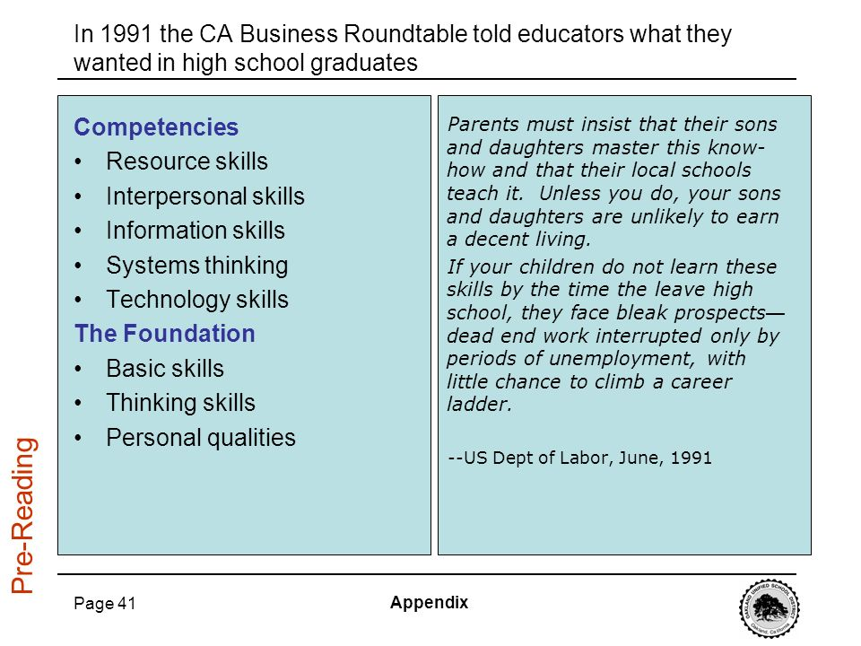 In 1991 the CA Business Roundtable told educators what they wanted in high school graduates