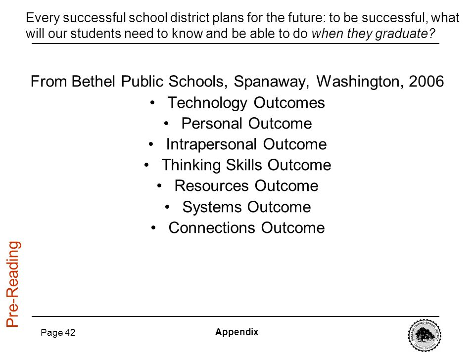 From Bethel Public Schools, Spanaway, Washington, 2006