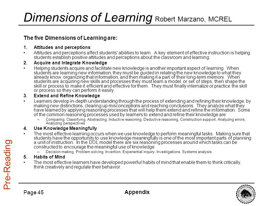 Dimensions of Learning Robert Marzano, MCREL