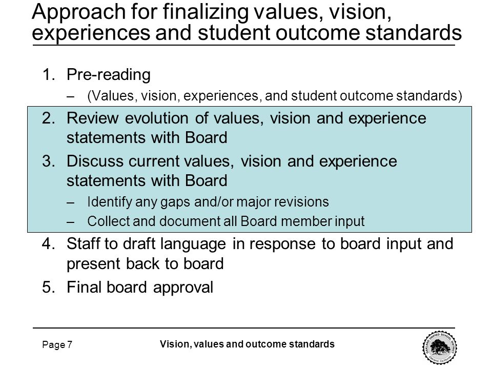 Approach for finalizing values, vision, experiences and student outcome standards