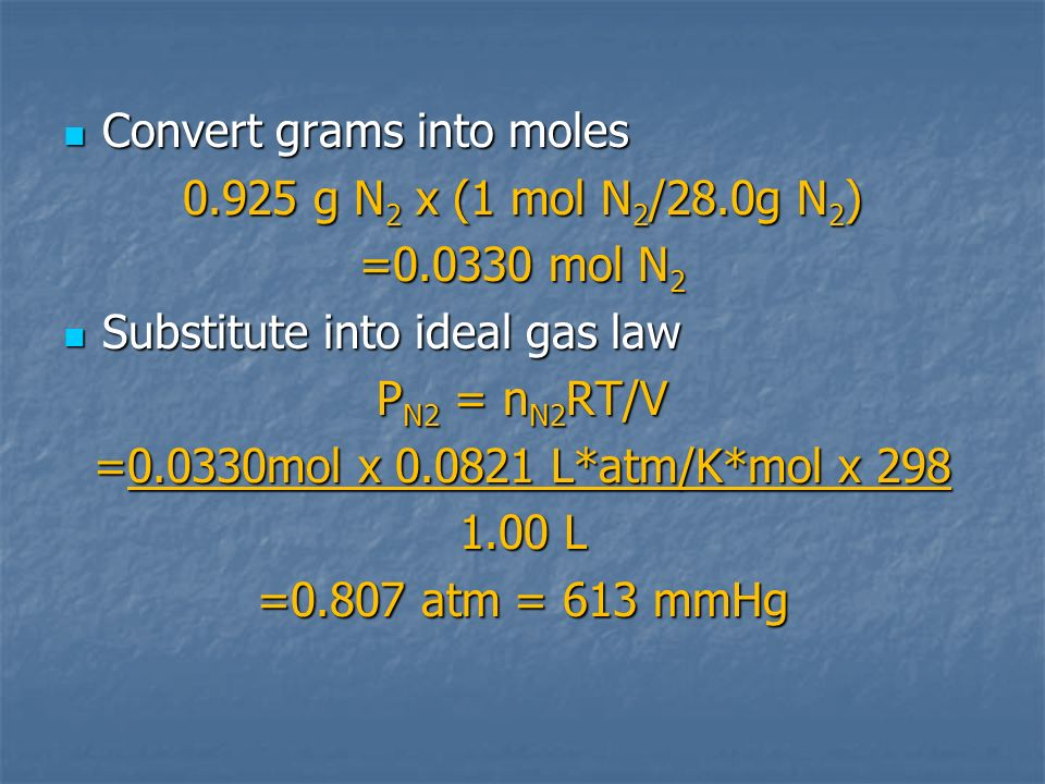 Convert grams into moles