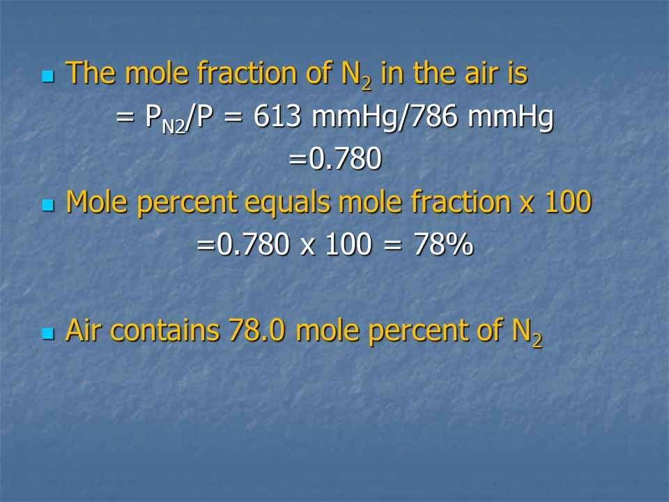 The mole fraction of N2 in the air is