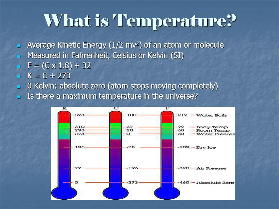 What is Temperature Average Kinetic Energy (1/2 mv2) of an atom or molecule. Measured in Fahrenheit, Celsius or Kelvin (SI)