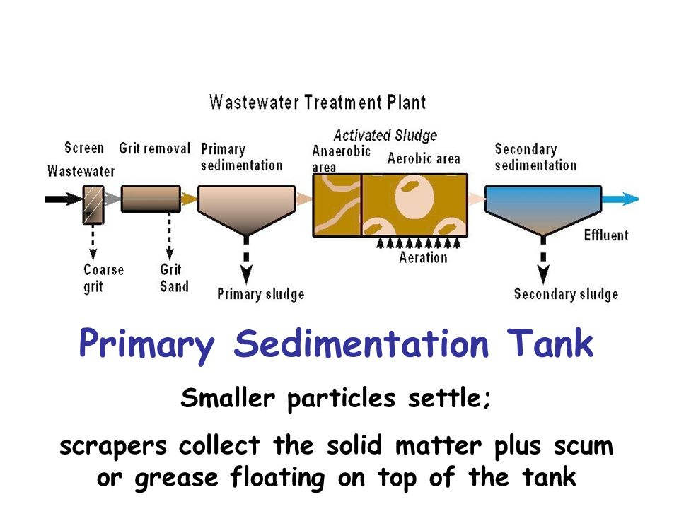 Primary Sedimentation Tank Smaller particles settle;