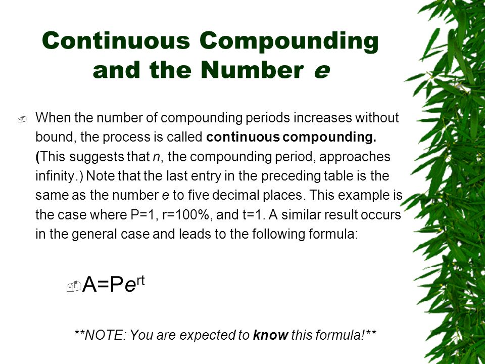 Continuous Compounding and the Number e