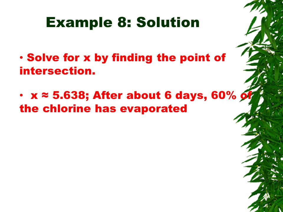 Example 8: Solution Solve for x by finding the point of intersection.