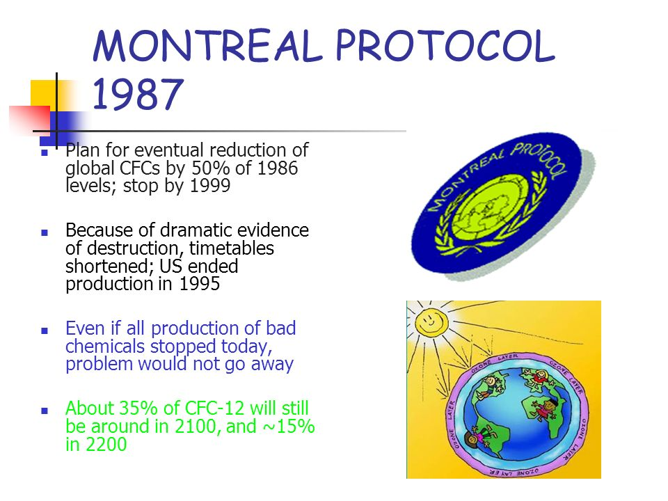 MONTREAL PROTOCOL 1987 Plan for eventual reduction of global CFCs by 50% of 1986 levels; stop by 1999.
