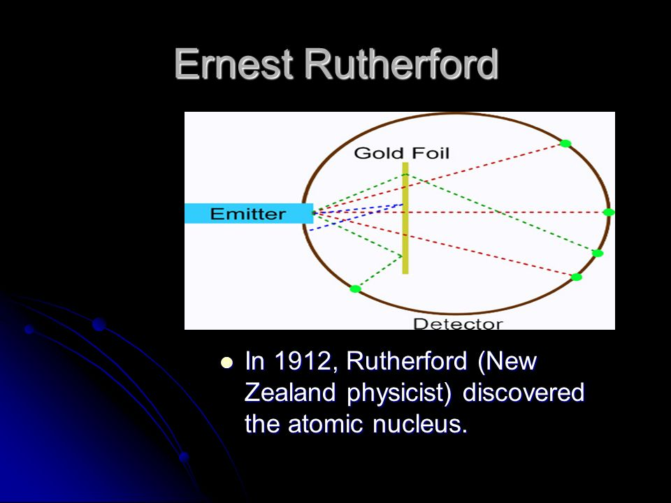 Ernest Rutherford In 1912, Rutherford (New Zealand physicist) discovered the atomic nucleus.