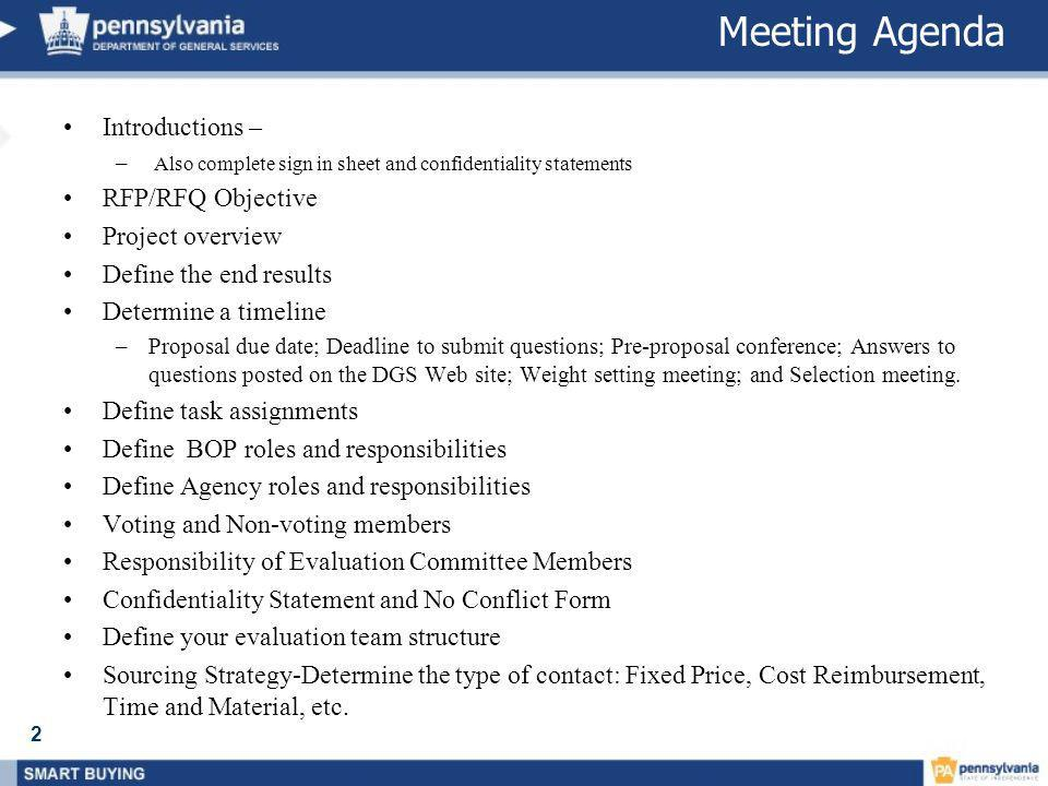 Meeting Agenda Introductions – RFP/RFQ Objective Project overview