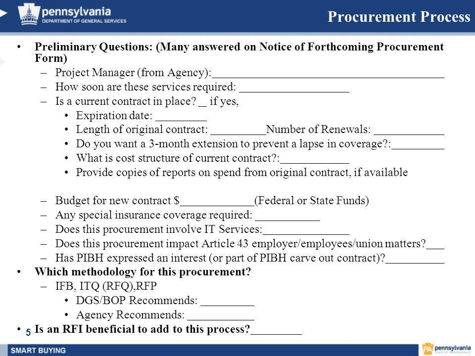 Procurement Process Preliminary Questions: (Many answered on Notice of Forthcoming Procurement Form)