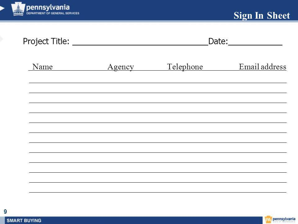 Sign In Sheet Project Title: ______________________________Date:____________.