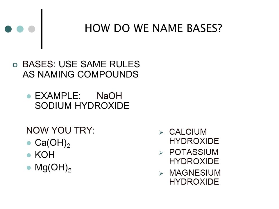 HOW DO WE NAME BASES BASES: USE SAME RULES AS NAMING COMPOUNDS