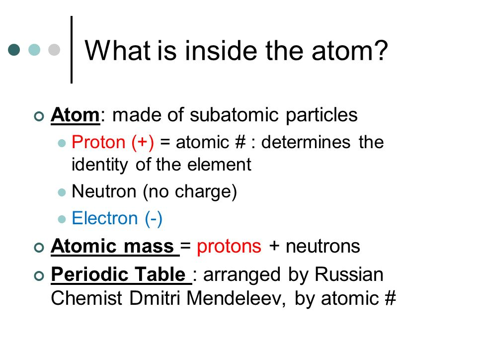 What is inside the atom Atom: made of subatomic particles