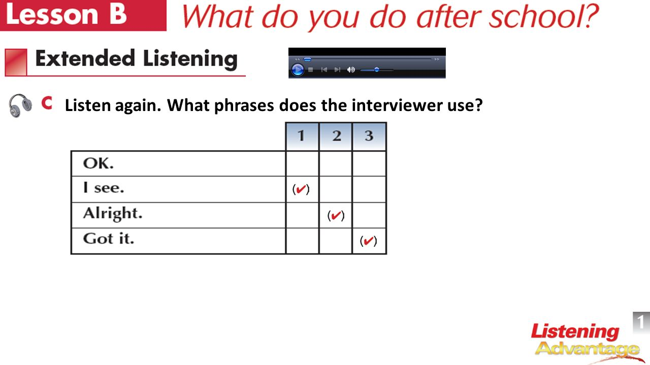 Listen again. What phrases does the interviewer use