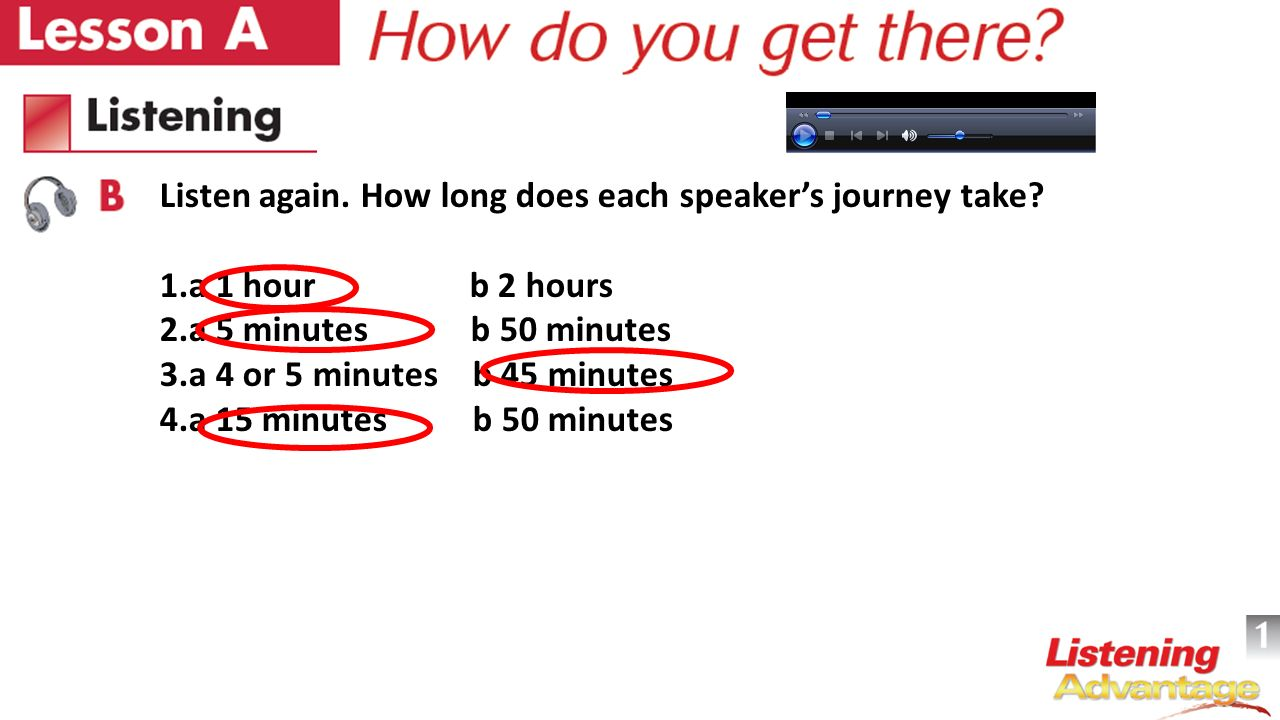 Listen again. How long does each speaker's journey take