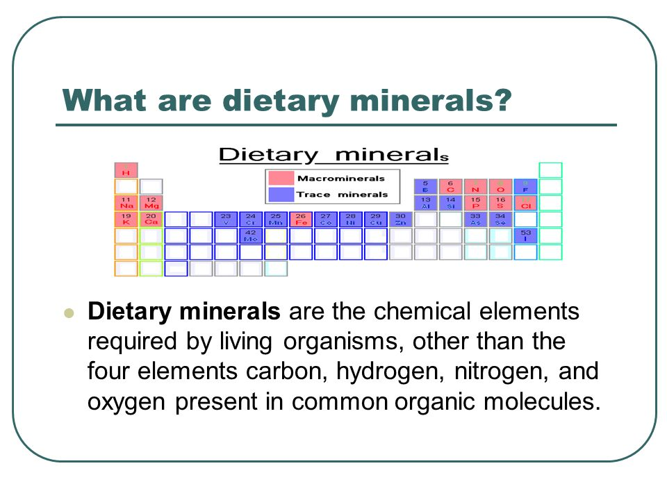 What are dietary minerals