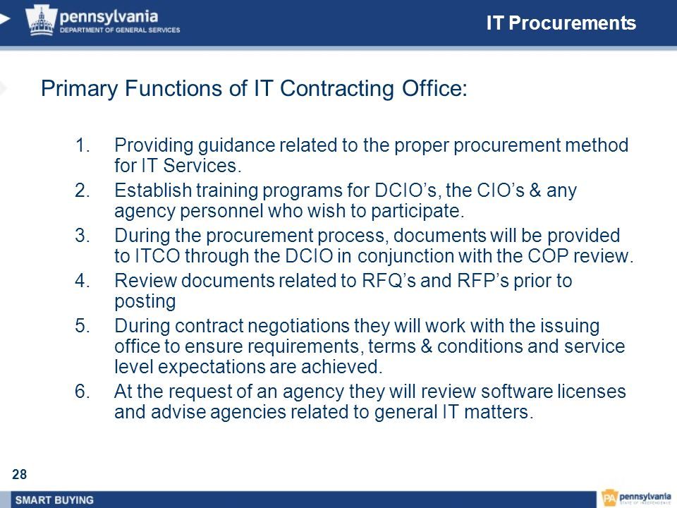 Primary Functions of IT Contracting Office: