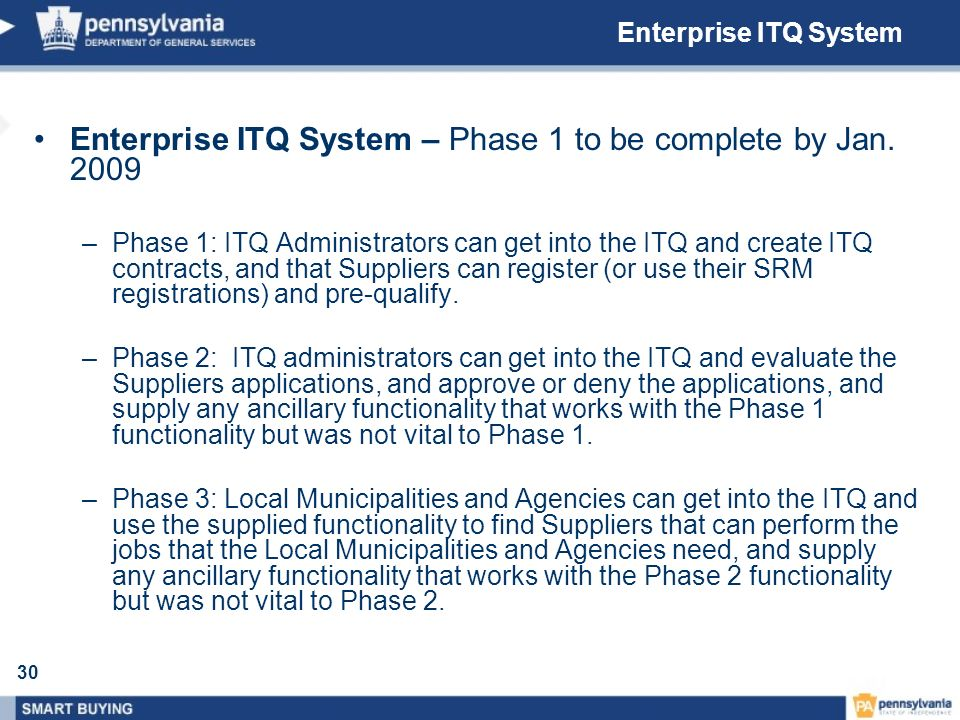 Enterprise ITQ System – Phase 1 to be complete by Jan. 2009