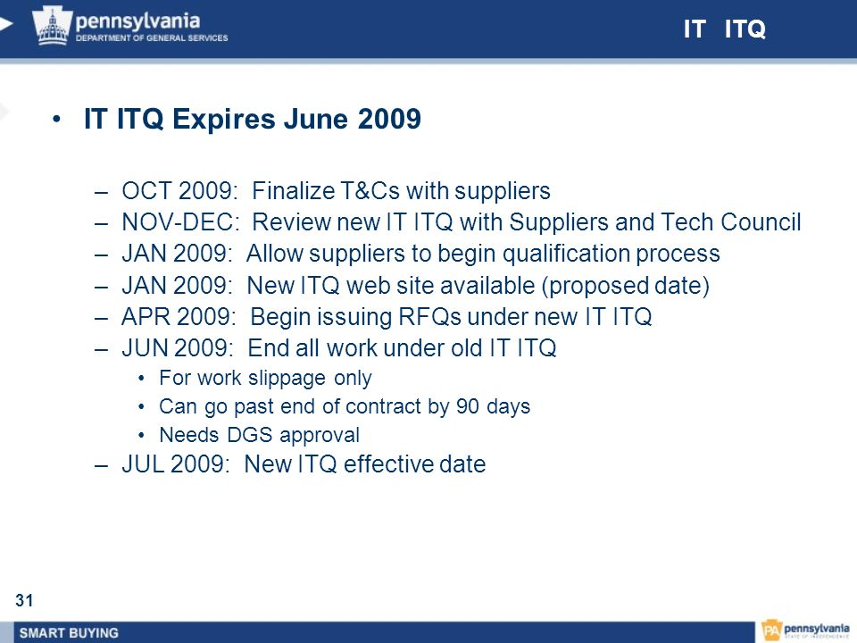 IT ITQ Expires June 2009 IT ITQ OCT 2009: Finalize T&Cs with suppliers
