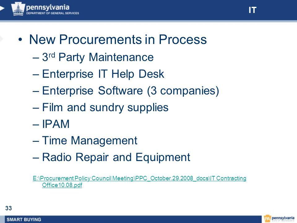 New Procurements in Process