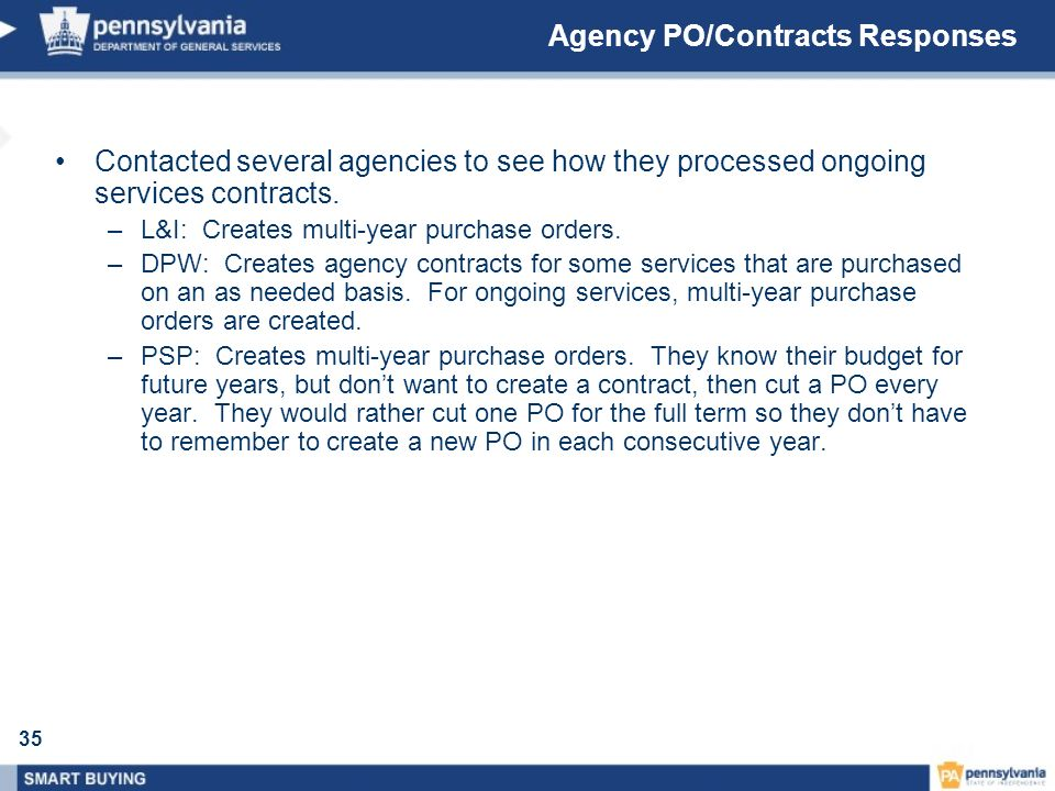 Agency PO/Contracts Responses
