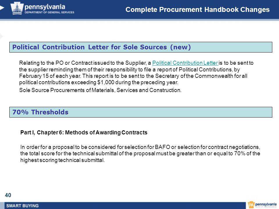 Complete Procurement Handbook Changes
