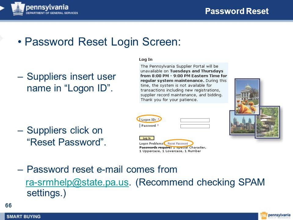 Password Reset Login Screen: