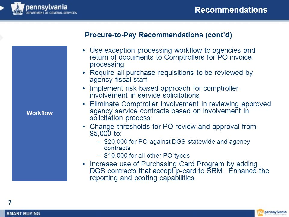 Recommendations Procure-to-Pay Recommendations (cont'd)