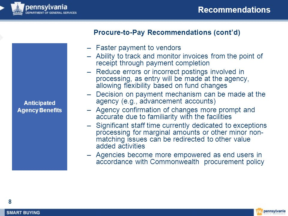 Procure-to-Pay Recommendations (cont'd) Anticipated Agency Benefits