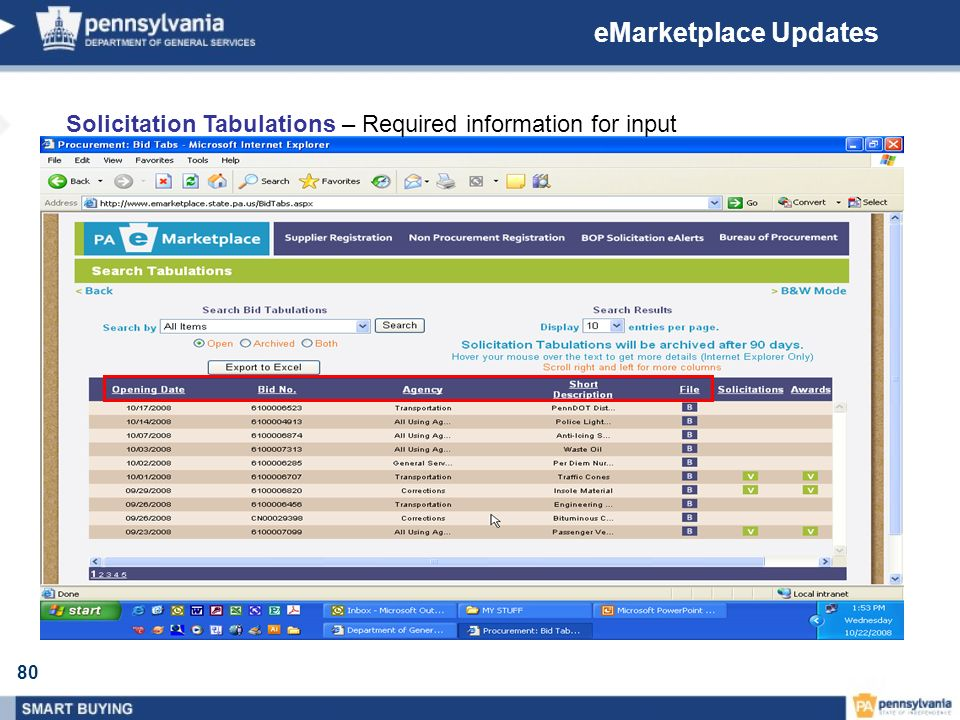 eMarketplace Updates Solicitation Tabulations – Required information for input