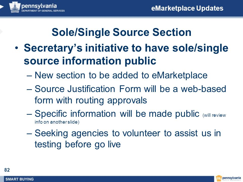 Sole/Single Source Section