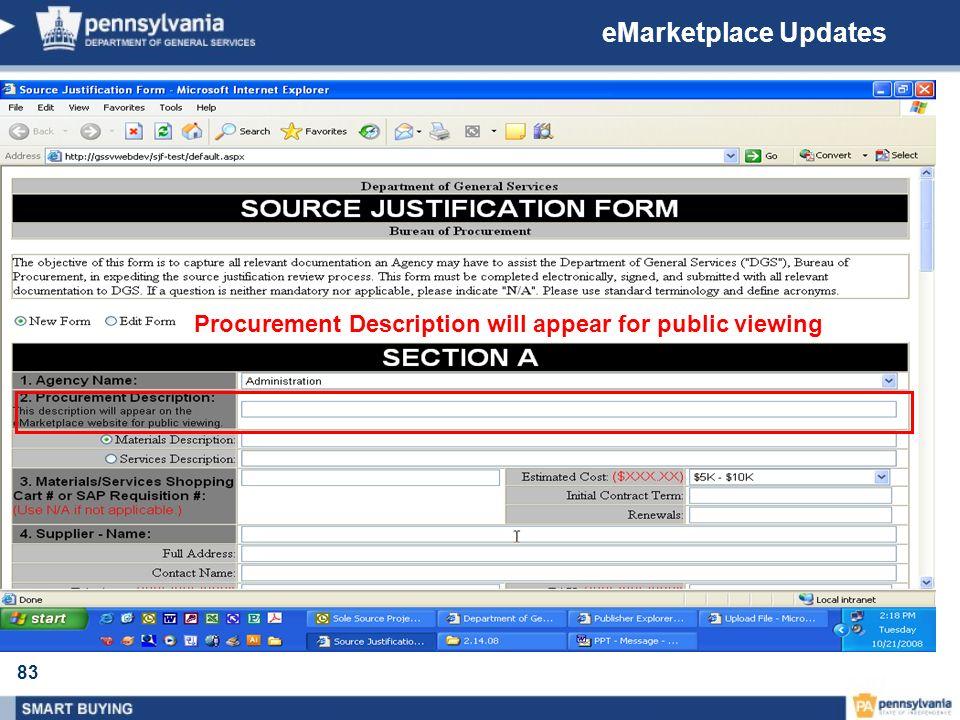 eMarketplace Updates Procurement Description will appear for public viewing