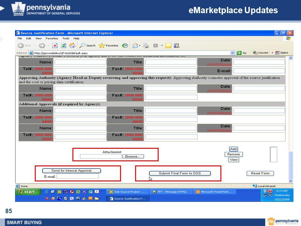 eMarketplace Updates