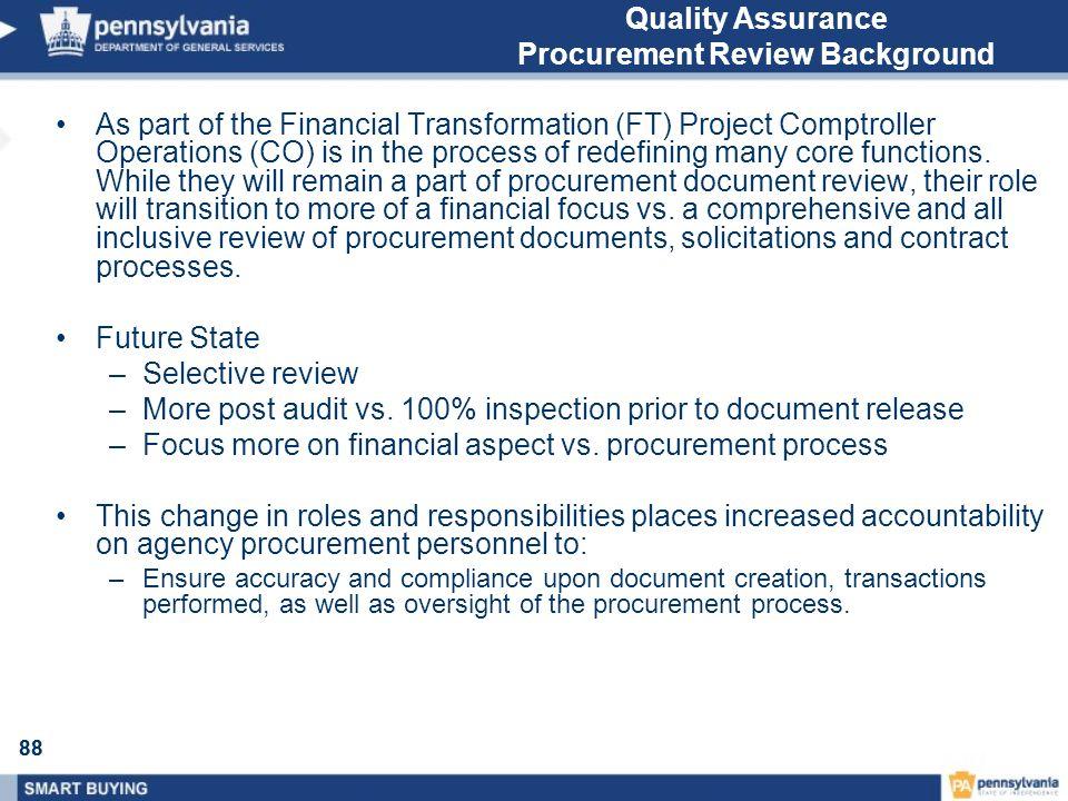 Quality Assurance Procurement Review Background