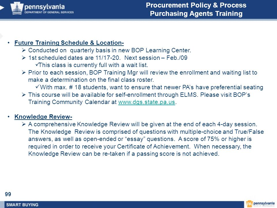 Procurement Policy & Process Purchasing Agents Training