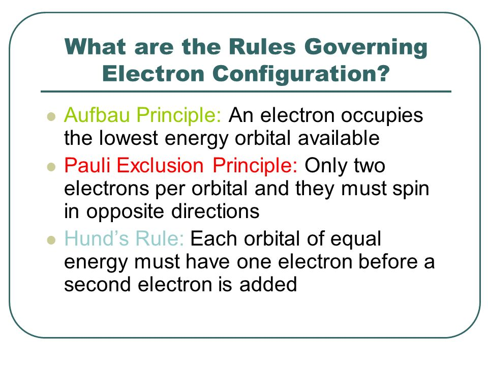 What are the Rules Governing Electron Configuration