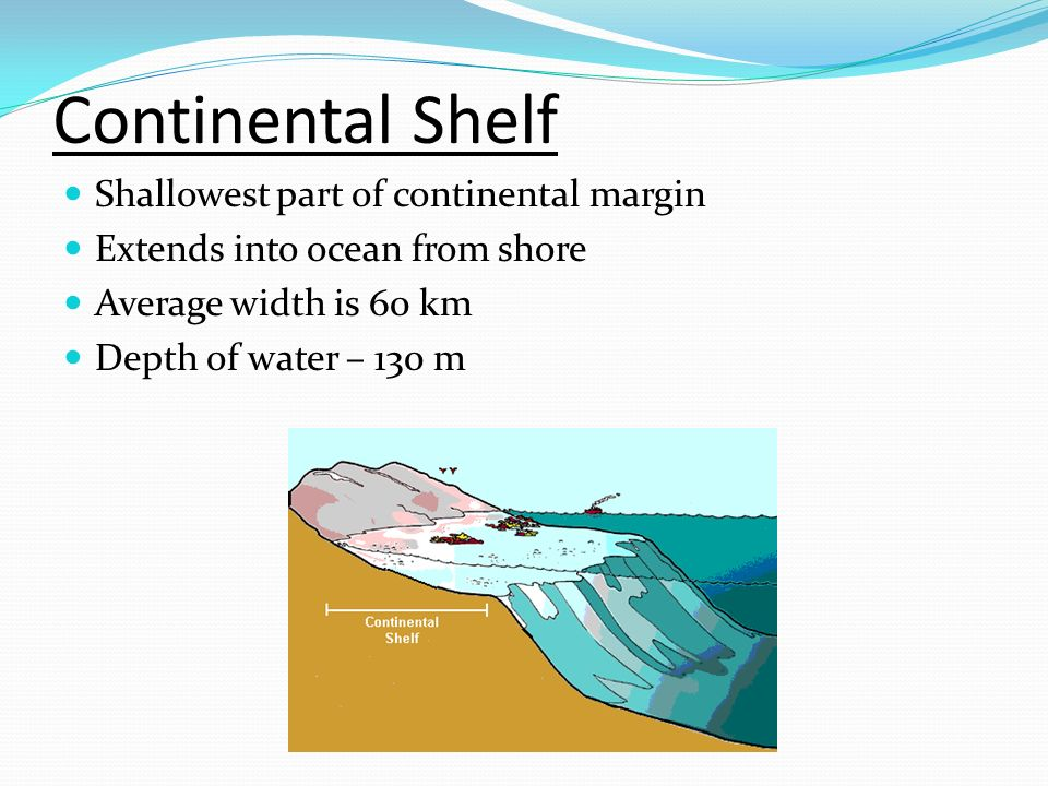 Continental Shelf Shallowest part of continental margin