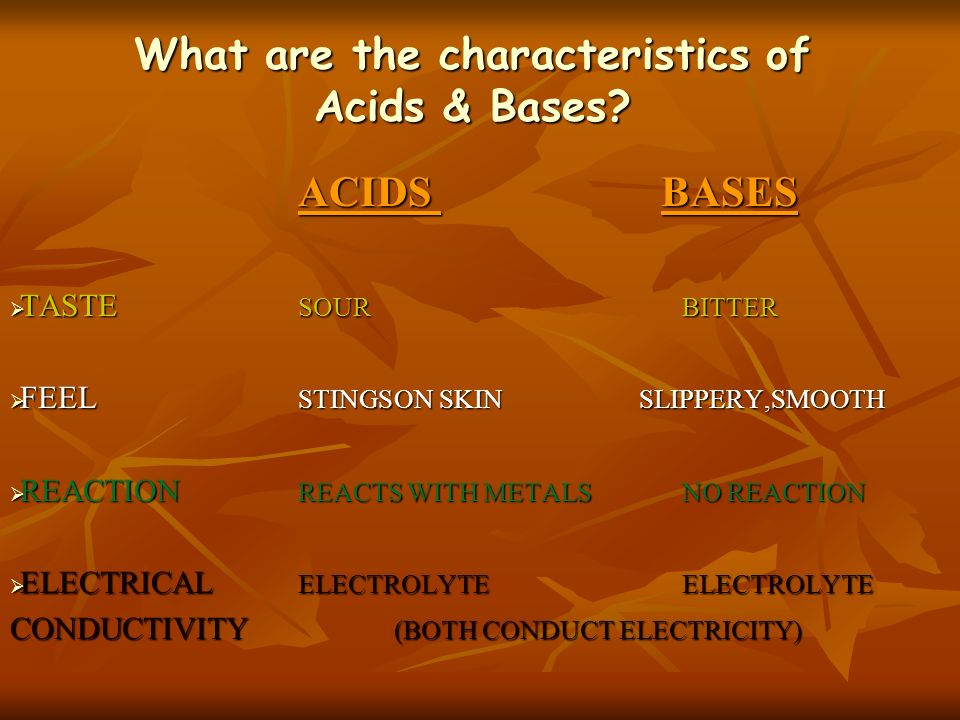 What are the characteristics of Acids & Bases