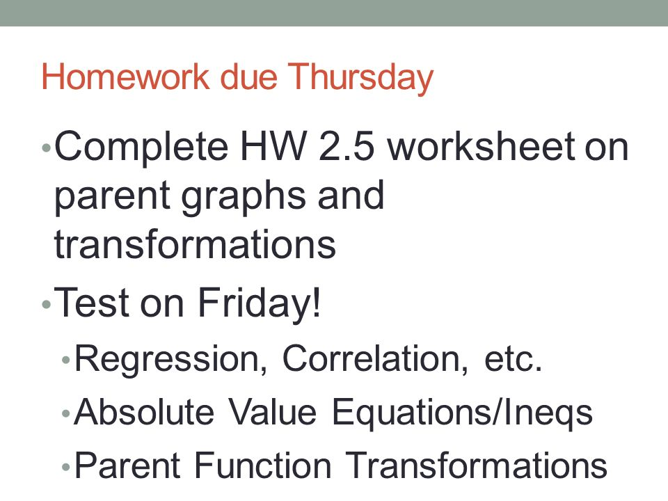Unit 2 Data and Function Fitting ppt video online download – Transformations of Graphs Worksheet