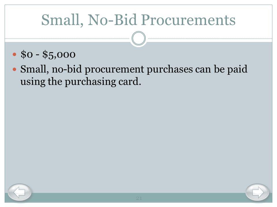 Small, No-Bid Procurements