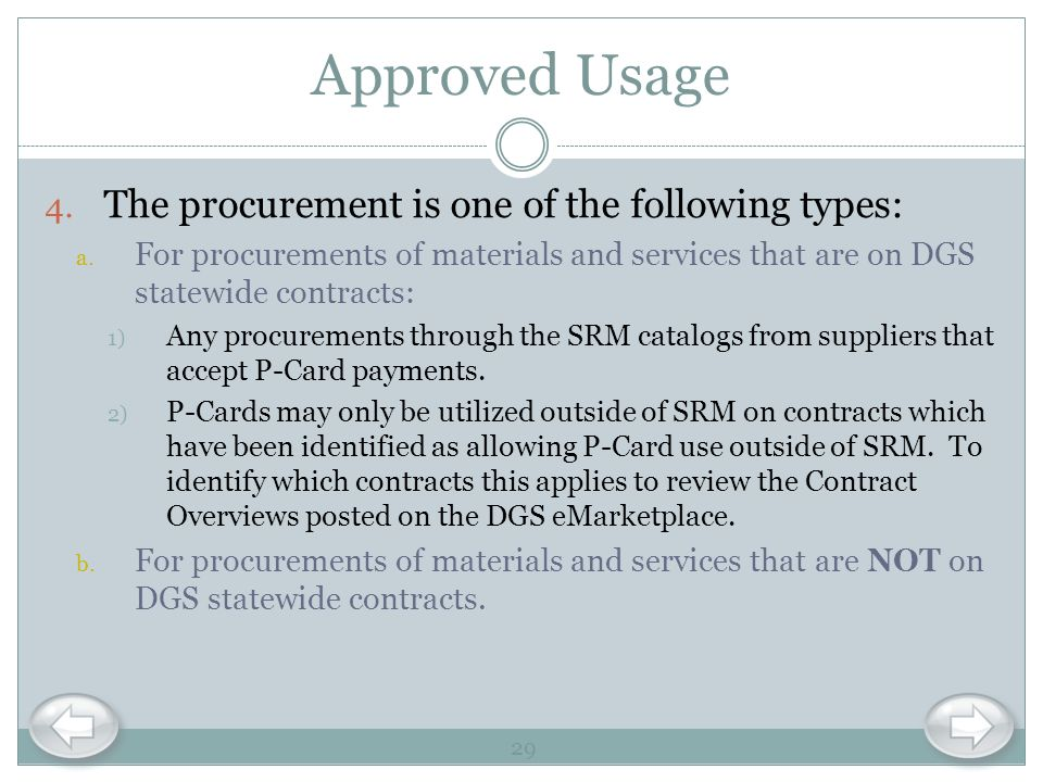 Approved Usage The procurement is one of the following types: